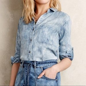 Cloth & Stone acid wash striped chambray top